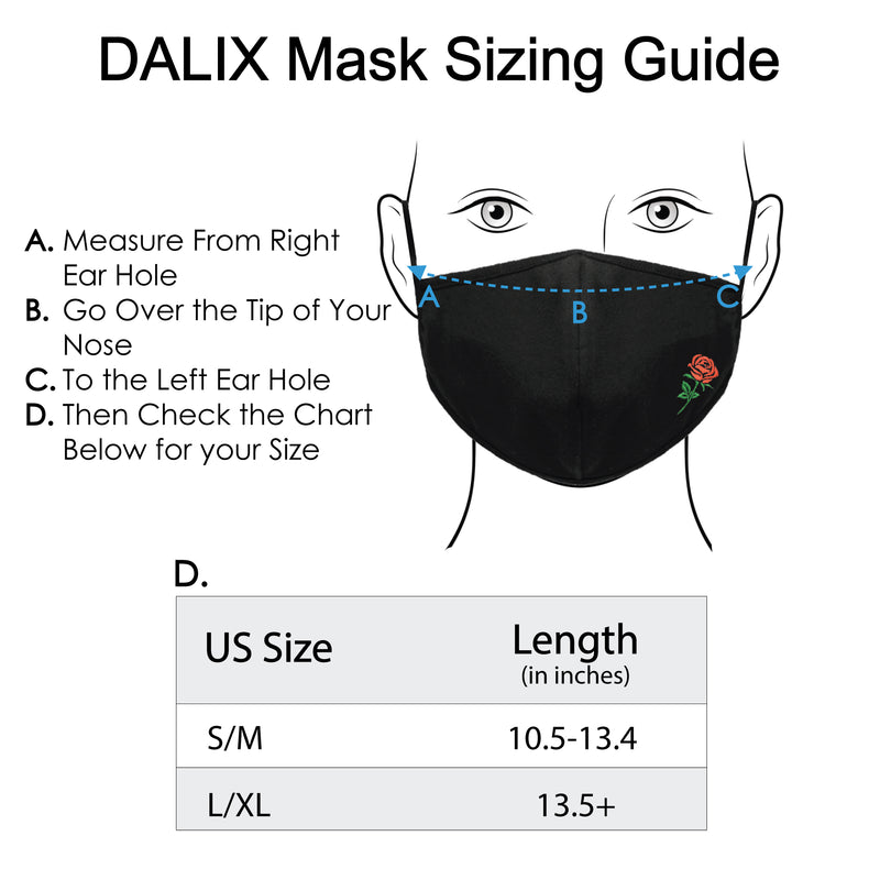 DALIX Embroidered Rose Cloth Face Masks Reuseable Washable Made in USA