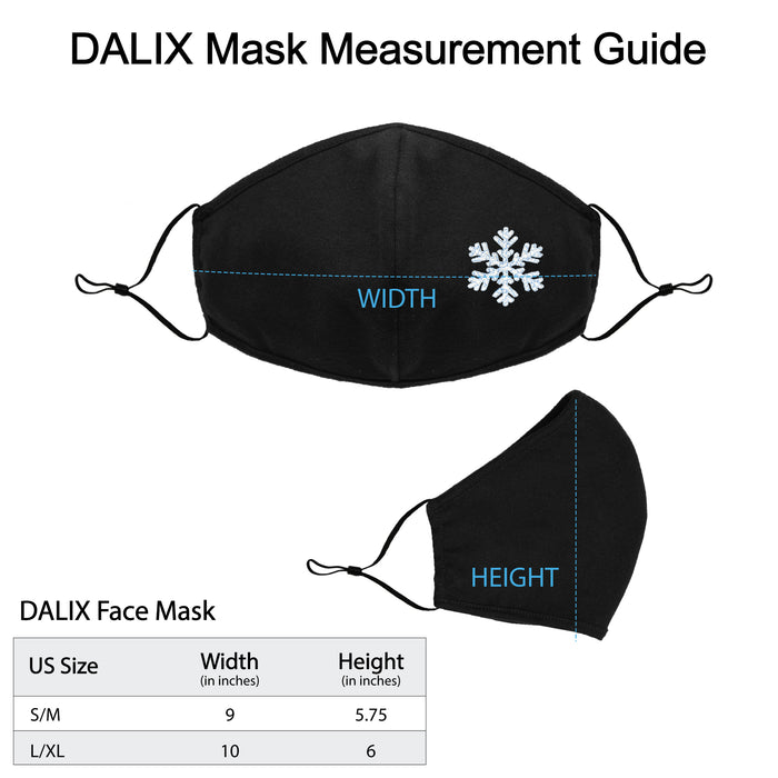 DALIX Snowflake Embroidered Cloth Face Mask Reuseable Washable Made in USA