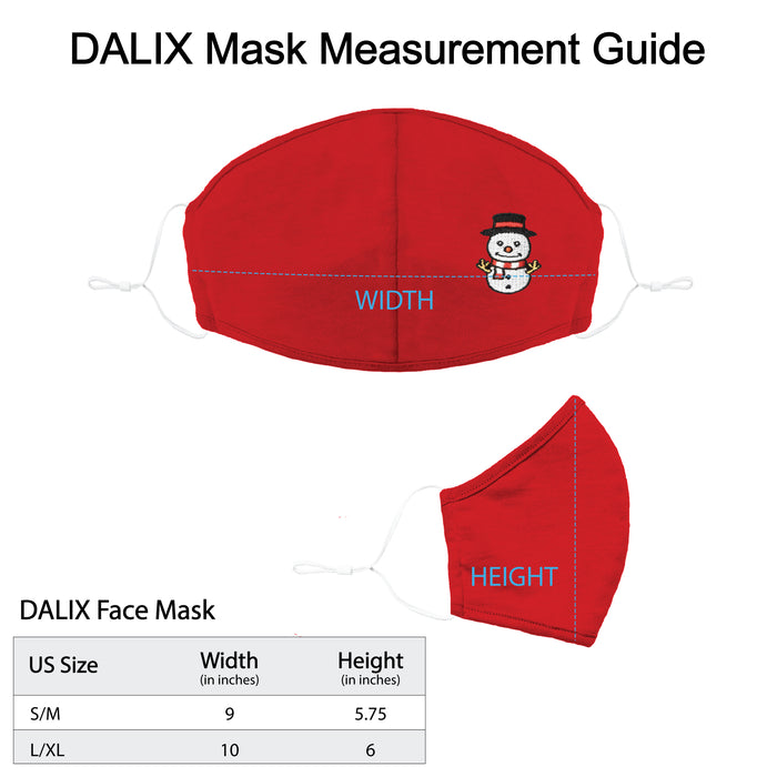DALIX Embroidered Snowman Cloth Face Masks Reuseable Washable Made in USA