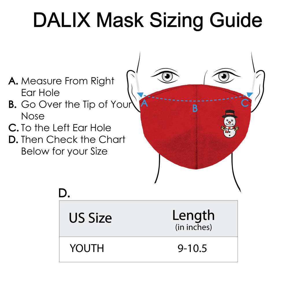 DALIX Kids Embroidered Snowman Cloth Face Masks Reuseable Washable Made in USA