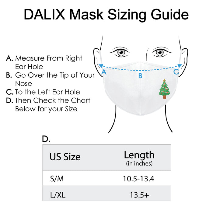 DALIX Christmas Tree Embroidered Cloth Face Mask Reuseable Washable Made in USA