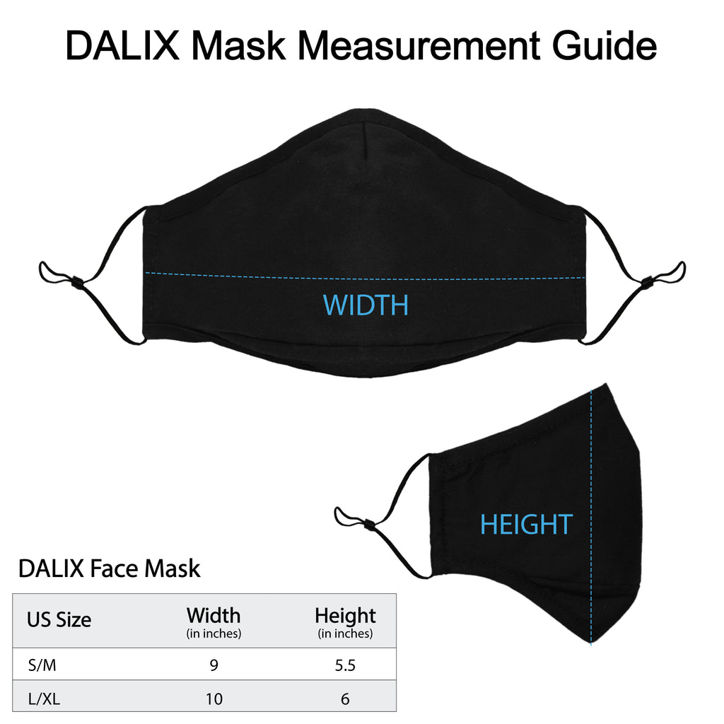 DALIX Cloth Face Mask 3 Layer Filter Pocket Adjustable Nose Ear Loops S/M with Filter- 3 Pack