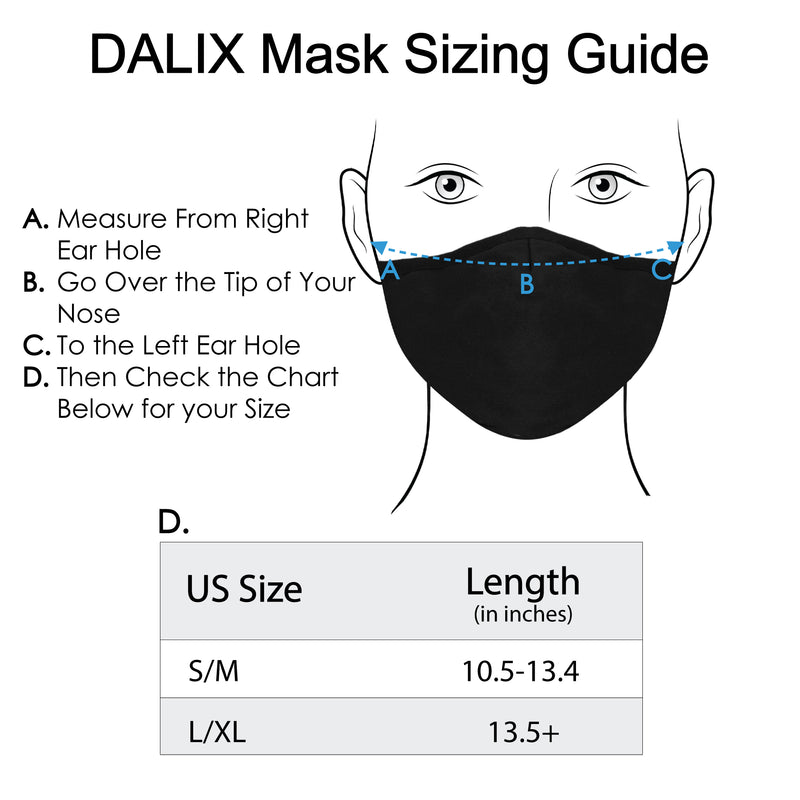DALIX Cloth Face Mask 3 Layer Filter Pocket Adjustable Nose Ear Loops S/M with Filter