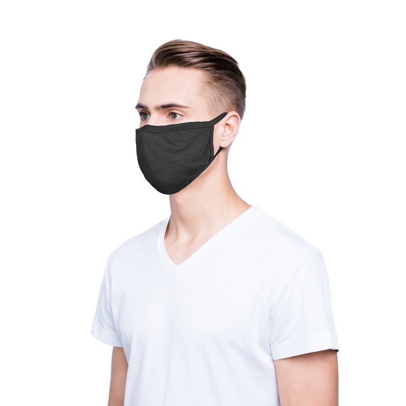 DALIX 3 Pack Premium Cotton Mask Reuseable Washable Made in USA (Black, White)