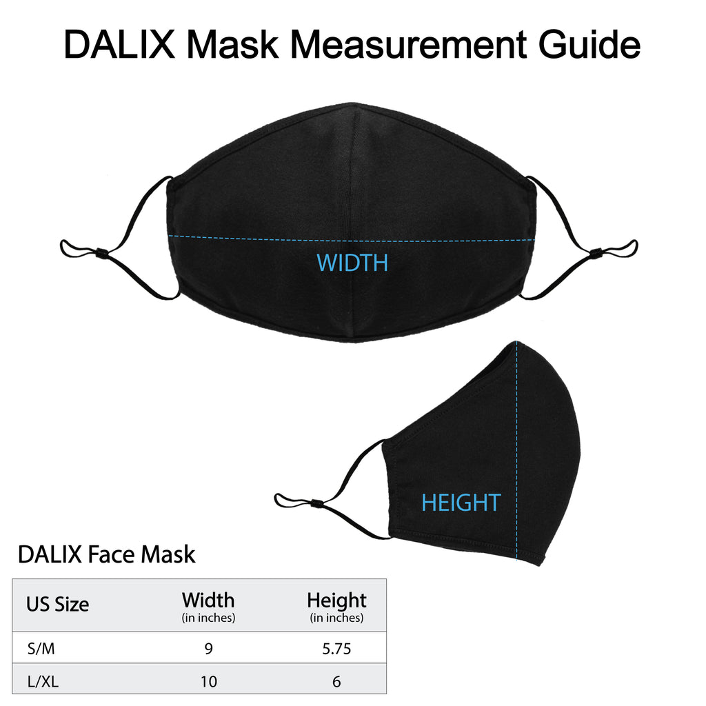 DALIX Cloth Face Mask Reuseable Washable Made in USA - S-M , L-XL Size (5 Pack)
