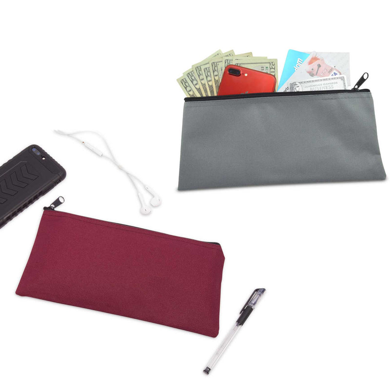 DALIX Zippered Money Pouch Bank Bag Pencil Marker Bags Assorted Colors 24 Pack