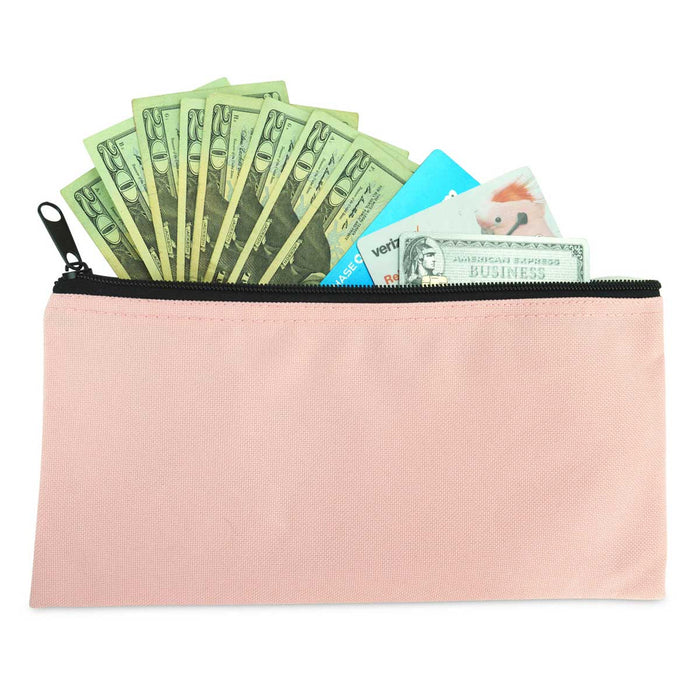 DALIX Bank Deposit Bag Money Pouch 2-Pack Qty Green Gray Navy Maroon Orange Pink Purple Red Black