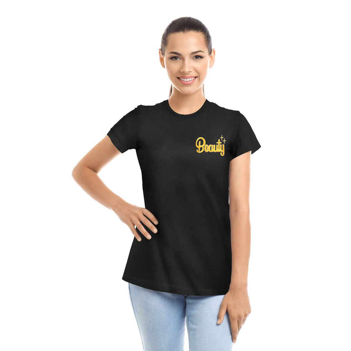 DALIX Beauty and Beast Couples T-Shirt Women Men Embroider Shirt Set