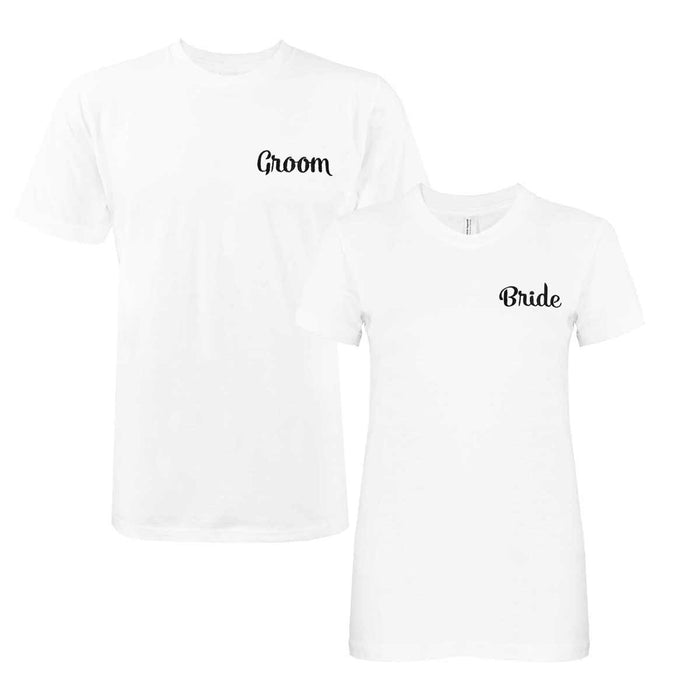 DALIX Bride Groom Couples T-Shirt Womens Mens Embroidered Shirt Set