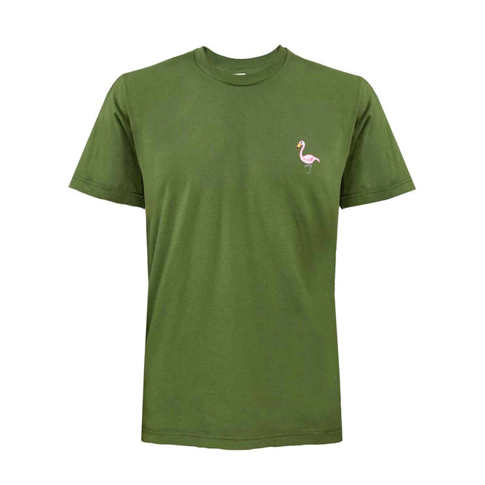 Men's Flamingo Embroidered Short Sleeve Tee Crew Neck T-Shirt