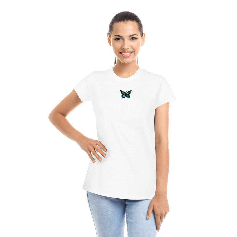 DALIX Blue Butterfly Cute Embroidered Womens T-Shirt