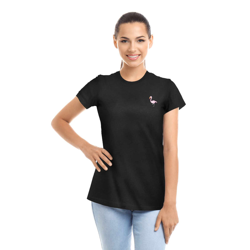 Women's Embroidered Flamingo T-Shirt Womens Tops