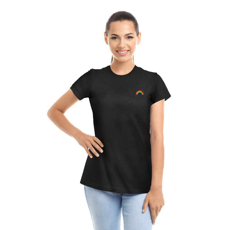 Women's Rainbow Embroidered T-Shirt Soft Cotton Short Sleeve Tee