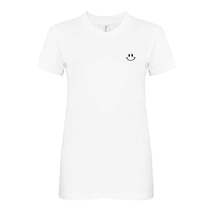 DALIX Happy Smile Face T-Shirt Women's Embroidered Shirt