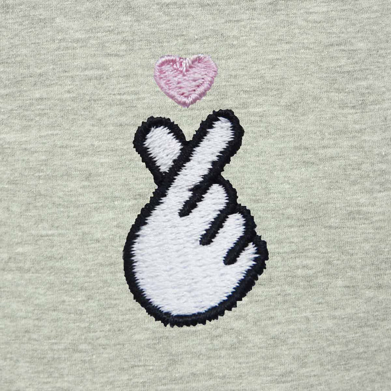 DALIX Love Finger Heart T-Shirt Women's Embroidered Shirt