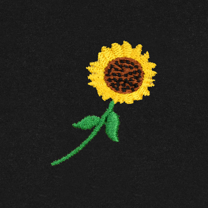 Women's Embroidered Sunflower Womens T-Shirt Tops