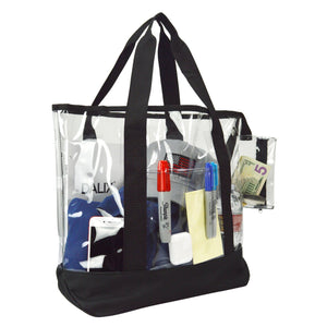 "DALIX 20"" Clear Handbag Shopping Tote with Small Bonus Pouch (Transparent) Shopping Totes DALIX"