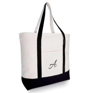 DALIX Personalized Tote Bag Monogram Black Initial