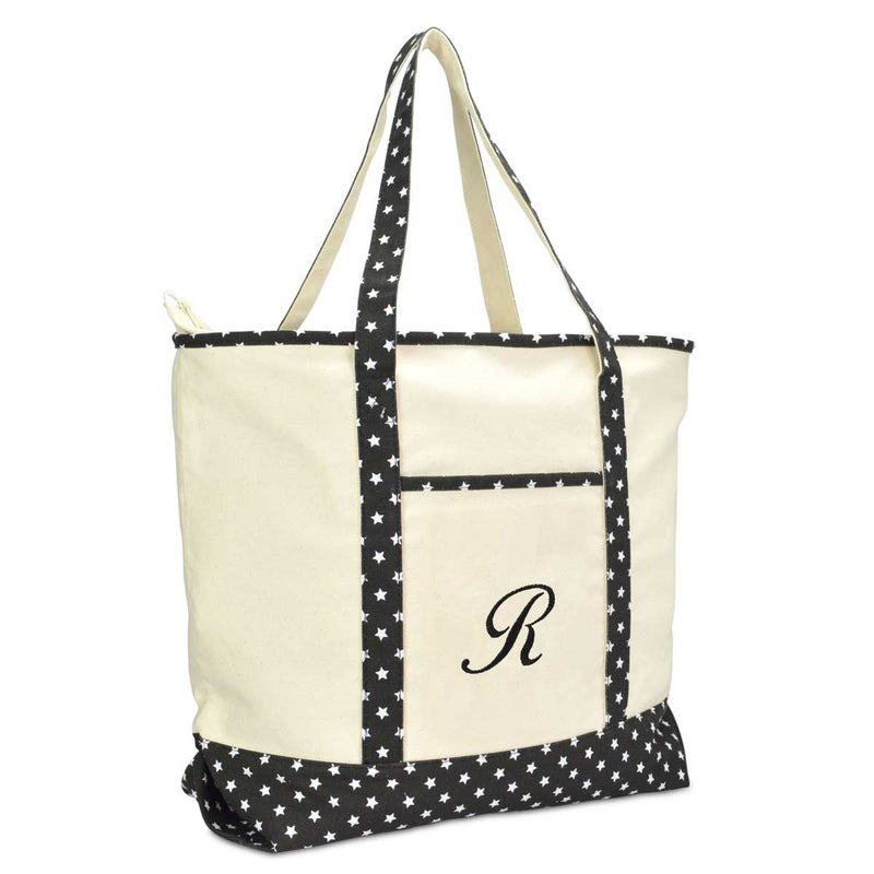 DALIX Personalized Shopping Tote Bag Monogram Black Star Initial Zippered Letter A-Z