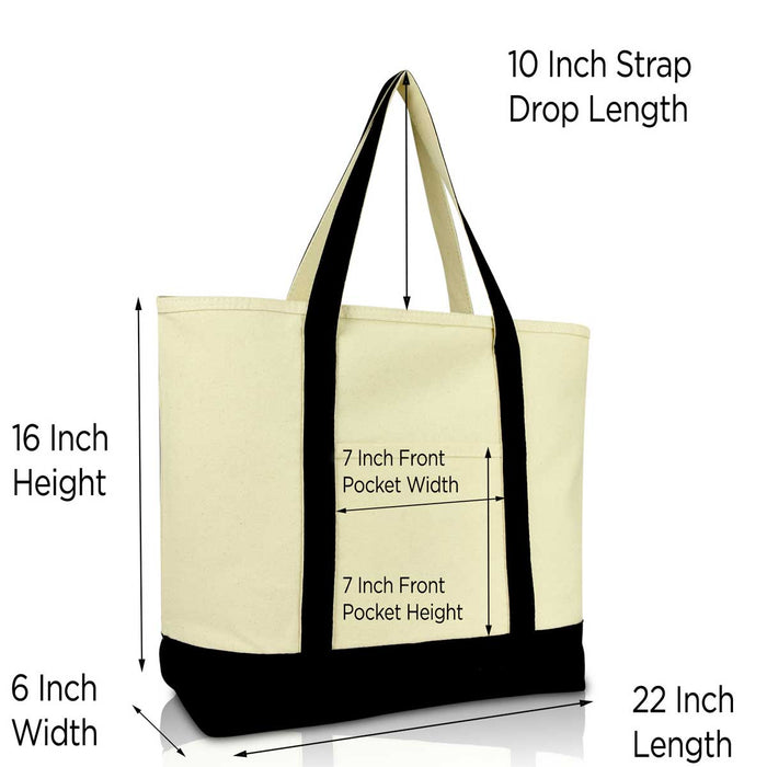 "DALIX 22"" Heavy Duty Cotton Canvas Tote Bag (Zippered Top)"