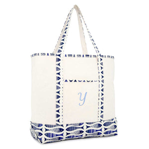 DALIX Personalized Shopping Tote Bag Monogram Initial Zippered Letter A-Z Fish