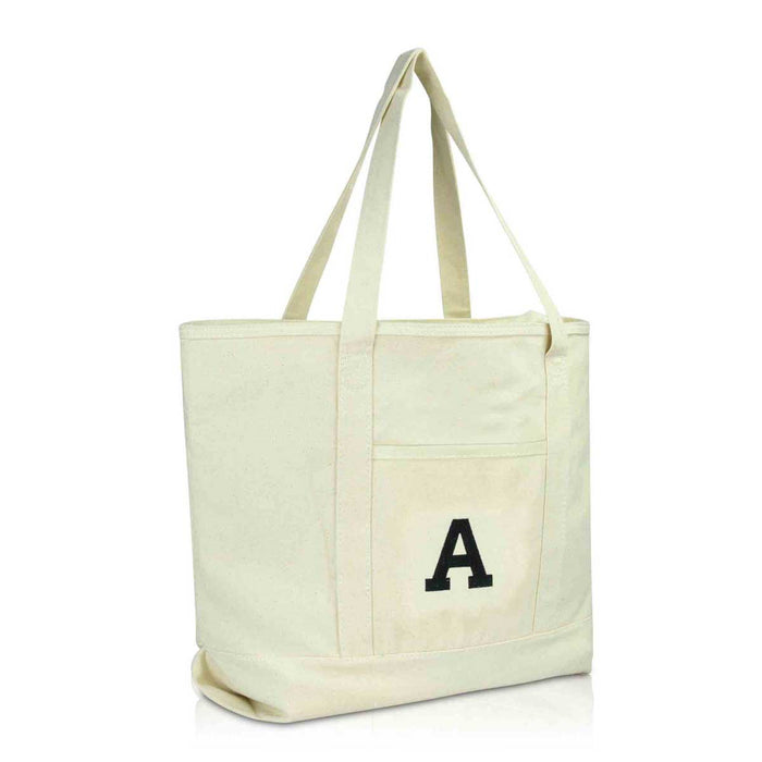 DALIX Initial Tote Bag Personalized Monogram Zippered Top Letter - A