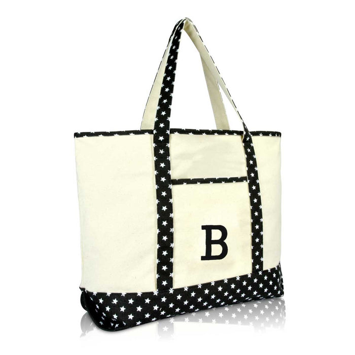 DALIX Initial Tote Bag Personalized Monogram Zippered Top Letter - B