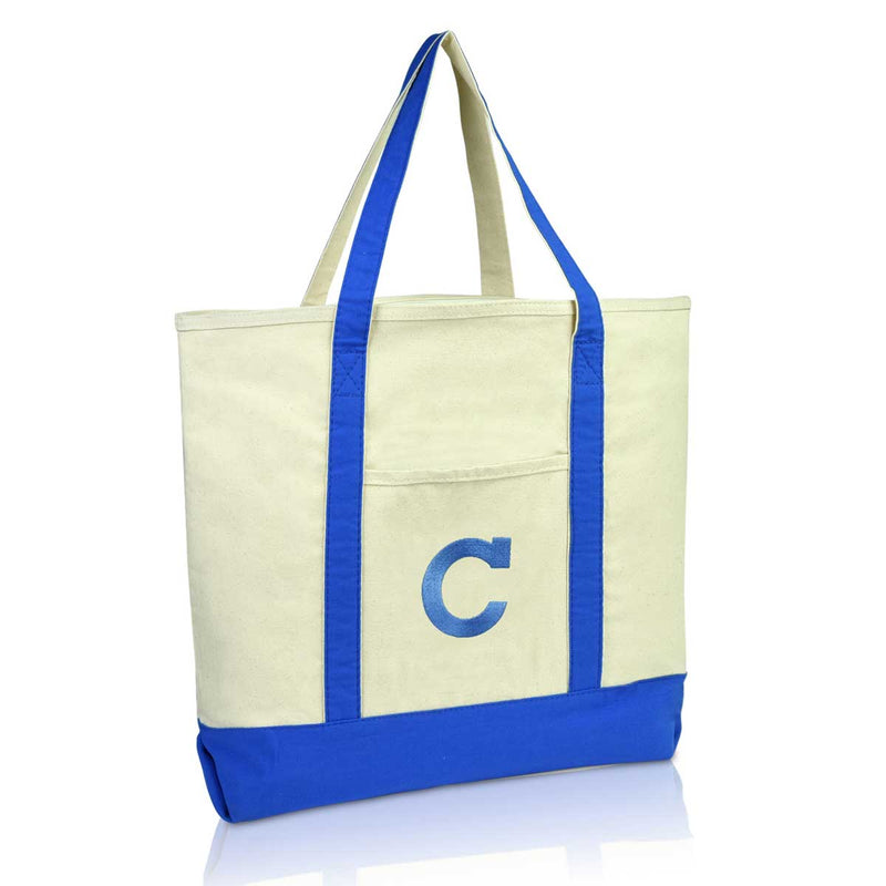 DALIX Initial Tote Bag Personalized Monogram Zippered Top Letter - C