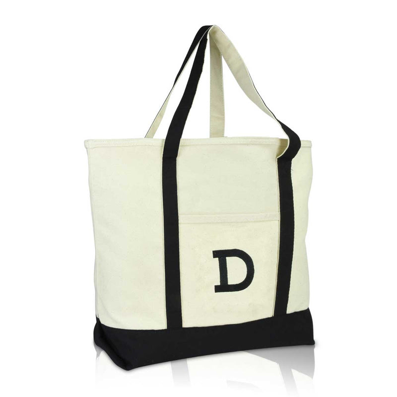DALIX Initial Tote Bag Personalized Monogram Zippered Top Letter - D