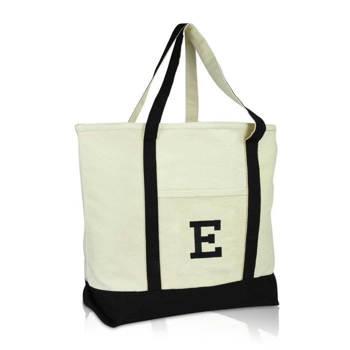 DALIX Initial Tote Bag Personalized Monogram Zippered Top Letter - E