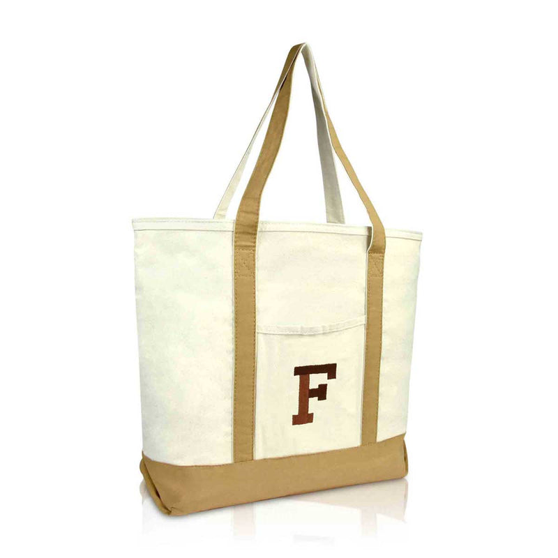 DALIX Initial Tote Bag Personalized Monogram Zippered Top Letter - F