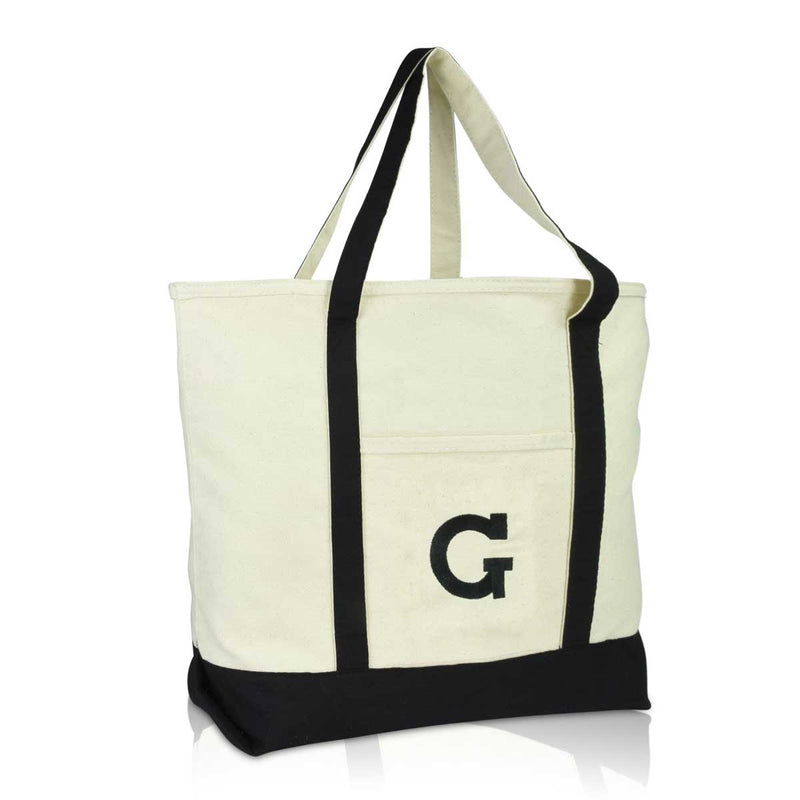 DALIX Initial Tote Bag Personalized Monogram Zippered Top Letter - G