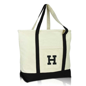 DALIX Initial Tote Bag Personalized Monogram Zippered Top Letter - H