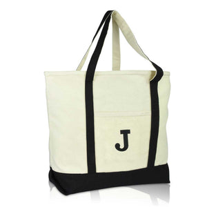 DALIX Initial Tote Bag Personalized Monogram Zippered Top Letter - J