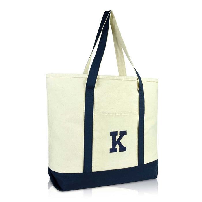 DALIX Initial Tote Bag Personalized Monogram Zippered Top Letter - K