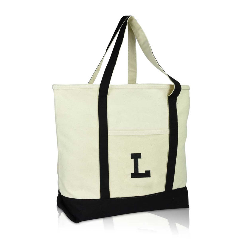 DALIX Initial Tote Bag Personalized Monogram Zippered Top Letter - L