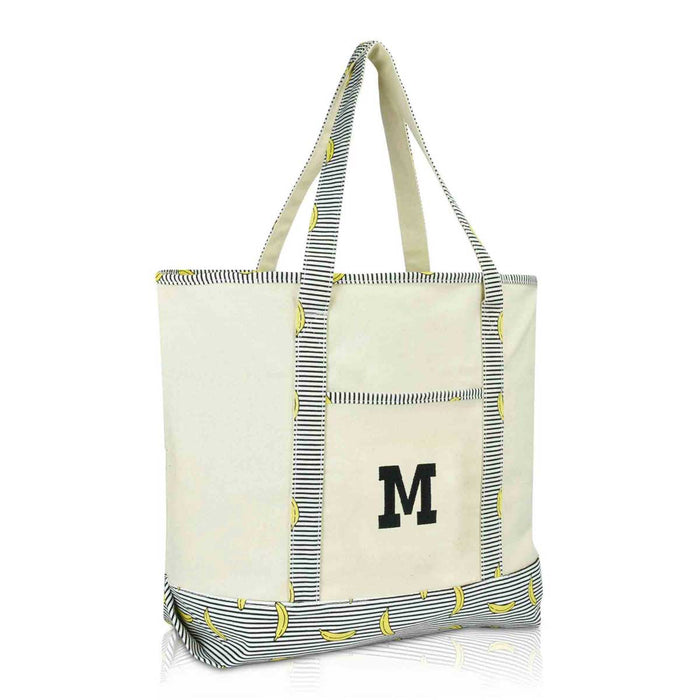 DALIX Initial Tote Bag Personalized Monogram Zippered Top Letter - M