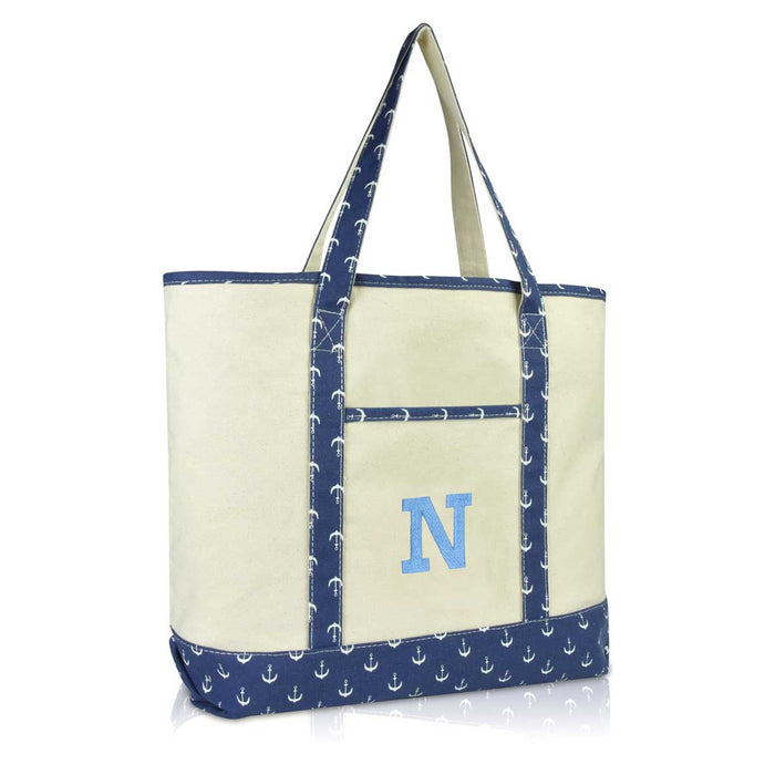 DALIX Initial Tote Bag Personalized Monogram Zippered Top Letter - N