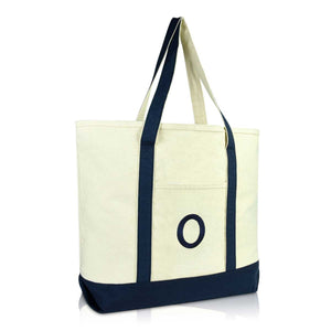DALIX Initial Tote Bag Personalized Monogram Zippered Top Letter - O