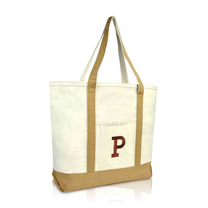DALIX Initial Tote Bag Personalized Monogram Zippered Top Letter - P