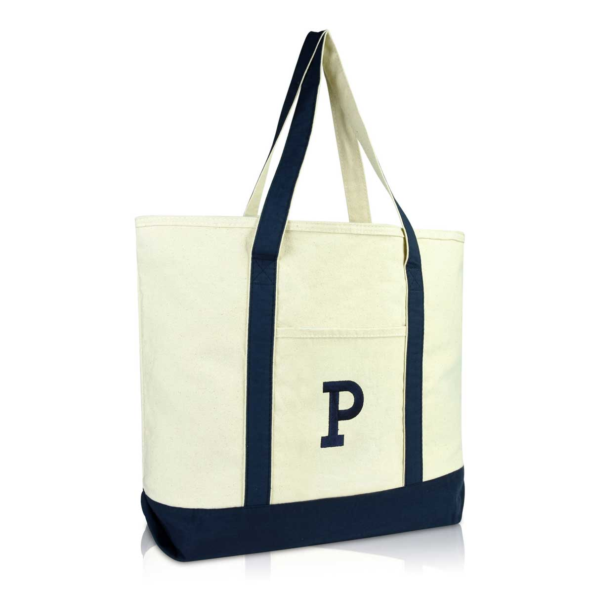 19e51d8935f755 DALIX Initial Tote Bag Personalized Monogram Zippered Top Letter - P