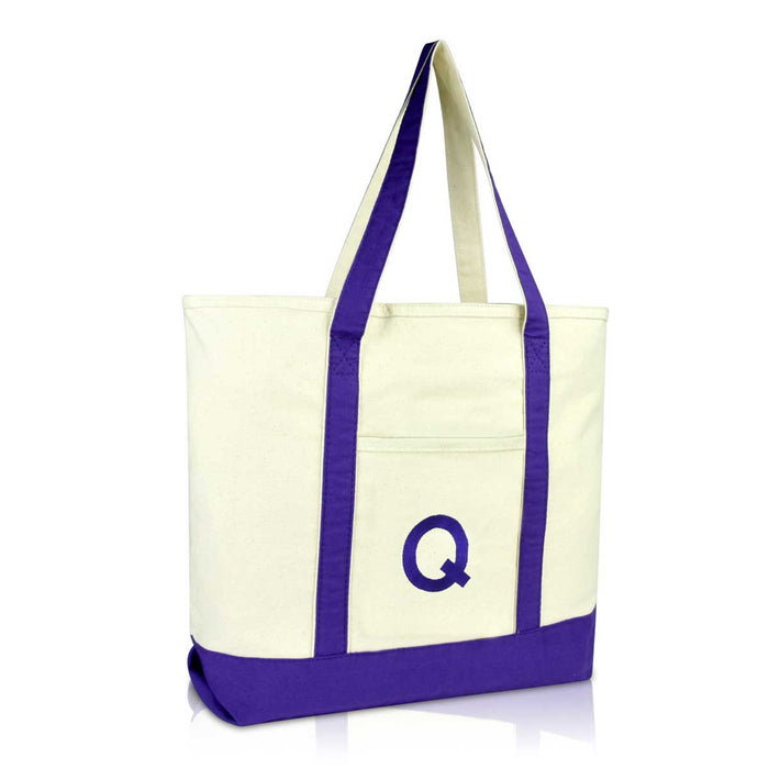 DALIX Initial Tote Bag Personalized Monogram Zippered Top Letter - Q