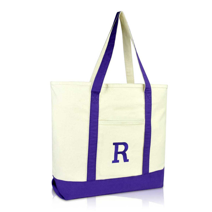 DALIX Initial Tote Bag Personalized Monogram Zippered Top Letter - R
