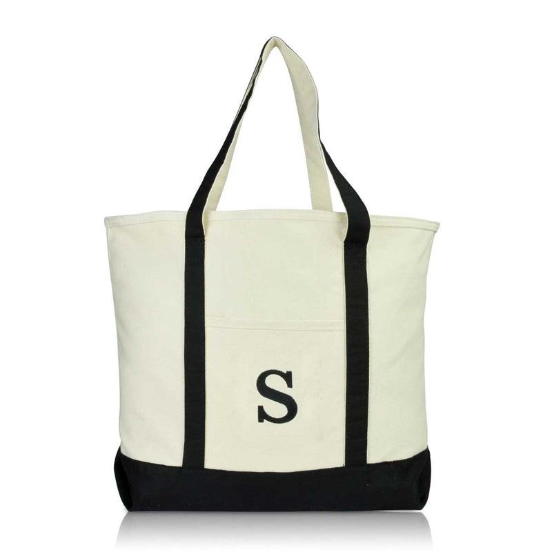 DALIX Initial Tote Bag Personalized Monogram Zippered Top Letter - S