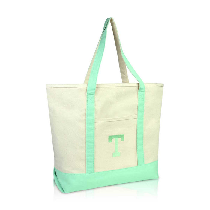 DALIX Initial Tote Bag Personalized Monogram Zippered Top Letter - T