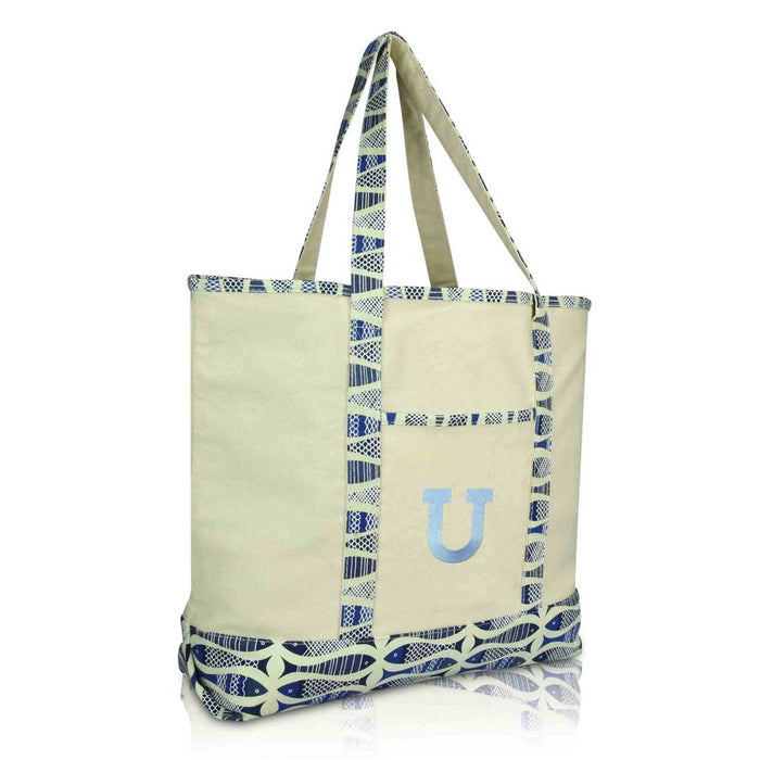 DALIX Initial Tote Bag Personalized Monogram Zippered Top Letter - U