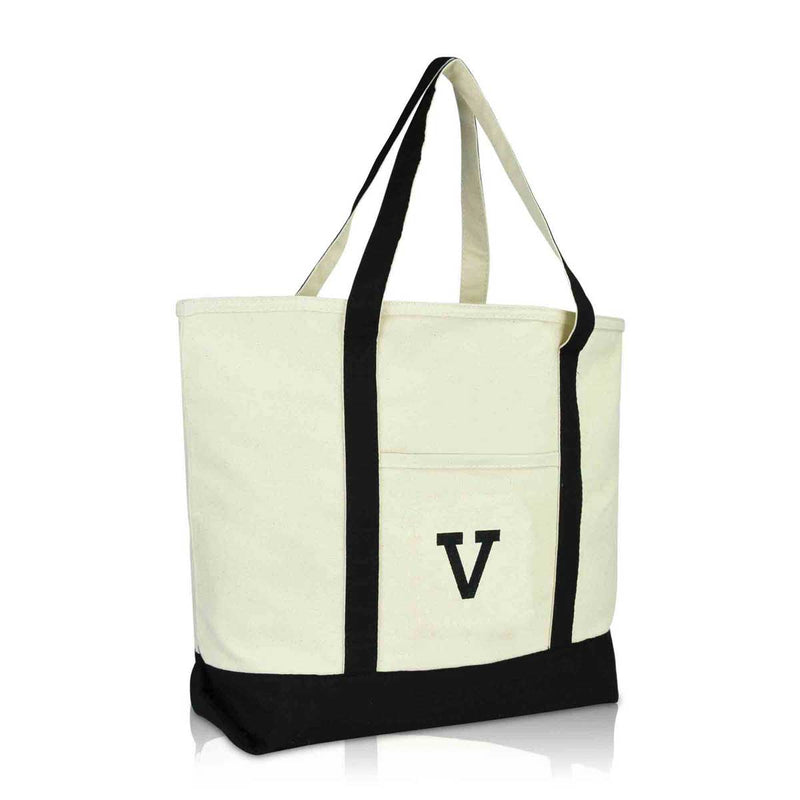 DALIX Initial Tote Bag Personalized Monogram Zippered Top Letter - V
