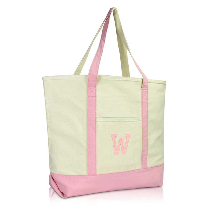 DALIX Initial Tote Bag Personalized Monogram Zippered Top Letter - W