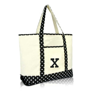 DALIX Initial Tote Bag Personalized Monogram Zippered Top Letter - X
