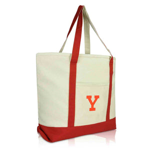 DALIX Initial Tote Bag Personalized Monogram Zippered Top Letter - Y